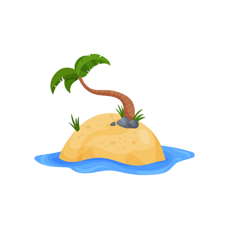 Tropical island and palm tree vector Illustration on a white background