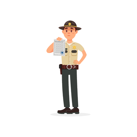 Town male sheriff police officer character in official uniform showing warrant sheet of paper vector Illustration on a white background