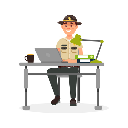 Cheerful town male sheriff police officer character in official uniform working with laptop in his office vector Illustration on a white background Vectores