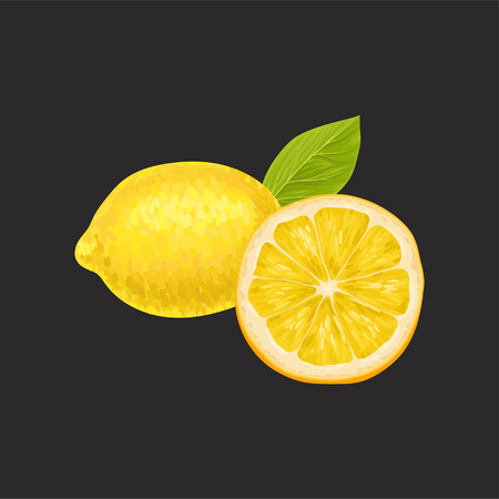 Fresh lemon, whole and cut in half sour citrus fruit vector Illustration on a black background Vettoriali