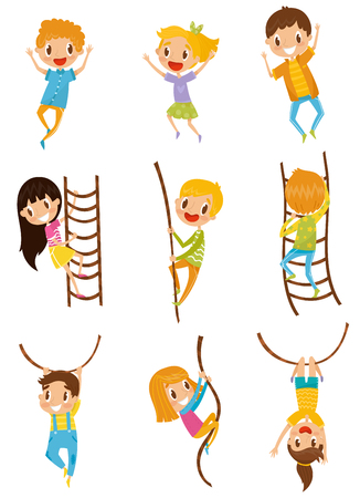 Cute little kids jumping, climbing and swinging with rope obstacles set, vector Illustrations on a white background