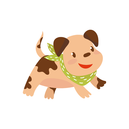 Cite funny dog in green scarf running cartoon vector Illustration on a white background Illustration