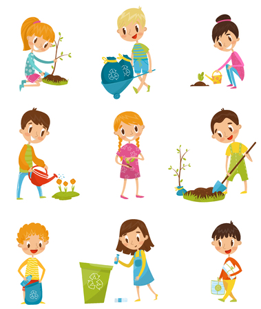 Cute kids gardening and picking up garbage set, boys and girls planted and watering young trees vector Illustrations on a white background
