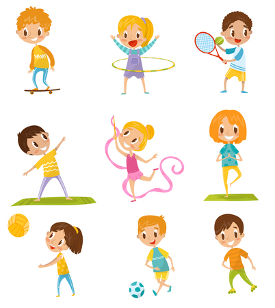 Kids doing different kinds of sports set. Vector Illustrations on a white background