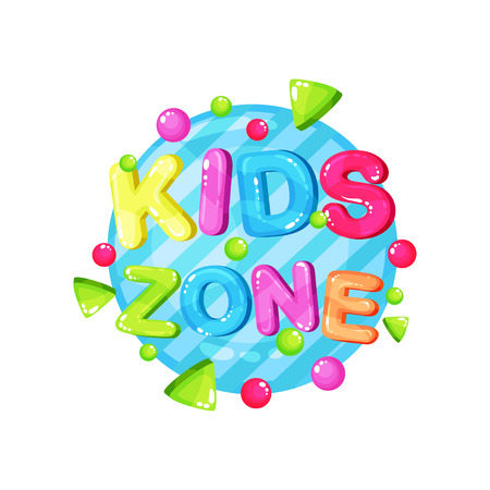 Kids zone logo template design, bright colorful emblem for childish playground, playroom, game area vector Illustration Stock Illustratie