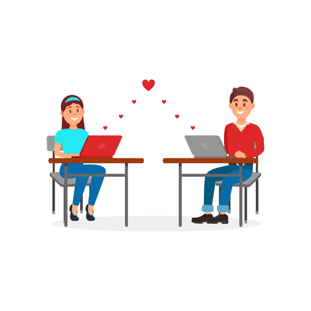 Young man and woman in love chatting using laptop computers in their office vector Illustration on a white background