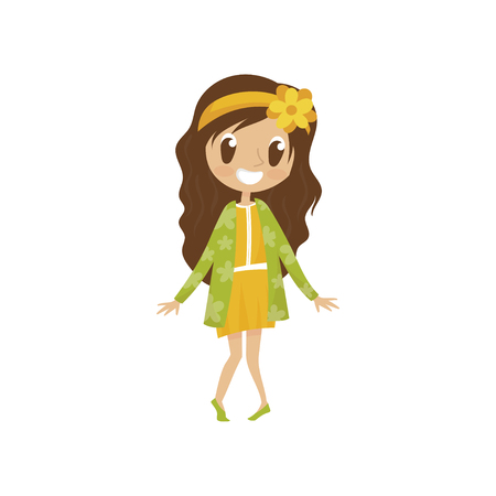 Sweet cartoon girl character in yellow dress and green cardigan, cute kid in fashionable clothes vector Illustration on a white background