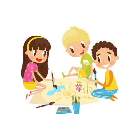 Little kids sitting on the floor and drawing aquarell paints on large sheet of paper, education and child development concept vector Illustration