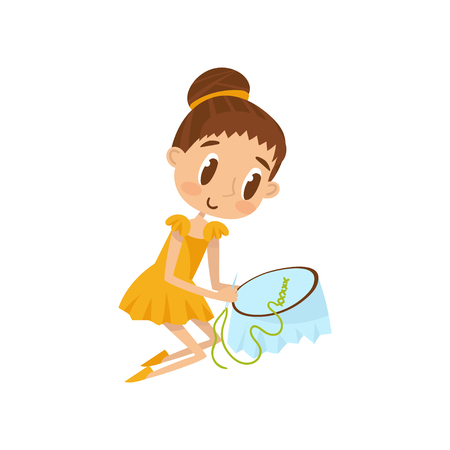 Lovely little girl sitting on the floor and embroidering on canvas, education and child development concept vector Illustration on a white background Stock Illustratie