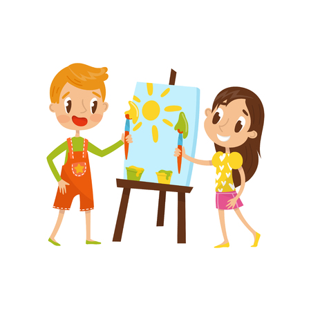 Cute little boy and girl painting on an easel, kids creativity, education and development concept vector Illustration on a white background