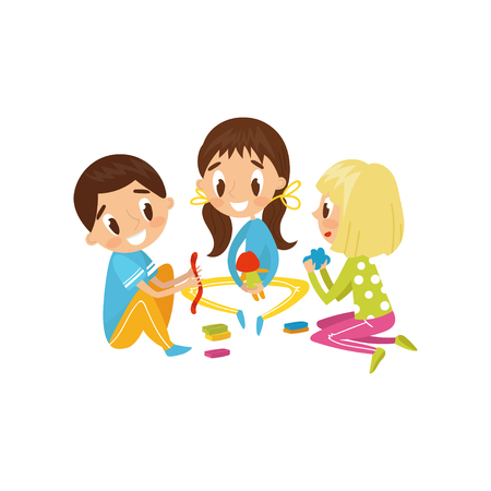 Cute little kids making figures from a plasticine, education and child development concept vector Illustration on a white background Stock Illustratie