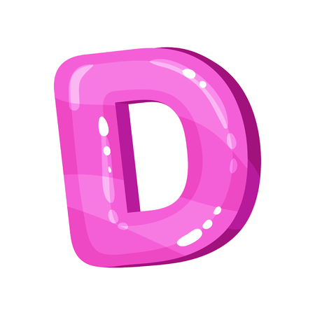 D pink glossy bright English letter, kids font vector Illustration on a white background