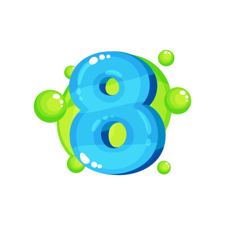 Eight blue glossy bright number, kids font vector Illustration on a white background