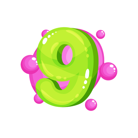 Nine green glossy bright number, kids font vector Illustration isolated on a white background.