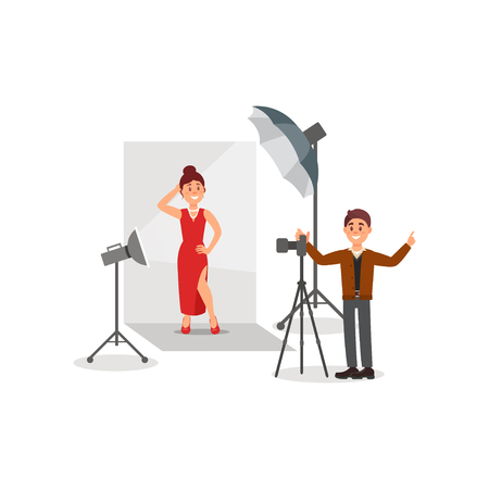 Female model wearing red dress in photo studio, photographer during shooting, white background with lights and camera vector Illustration