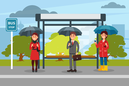 People with umbrellas waiting for bus at the bus stop vector ilustration Illustration
