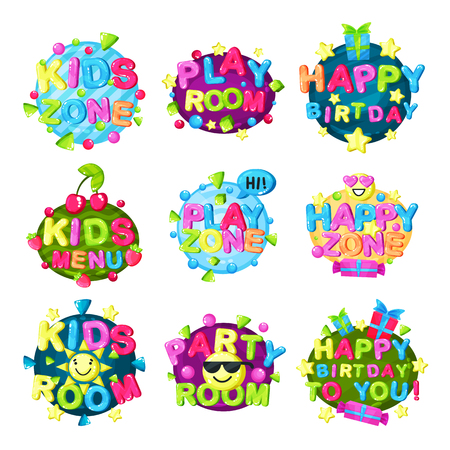 Kids zone logo set, bright colorful emblem for childish playground, childrens playroom, game and fun area vector Illustration isolated on a white background.  イラスト・ベクター素材