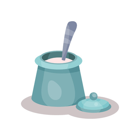 Sugar bowl and spoon vector Illustration isolated on a white background.