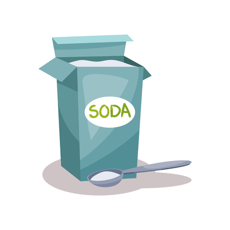 Soda in a craft paper bag and spoon, baking ingredient vector Illustration isolated on a white background. Vectores