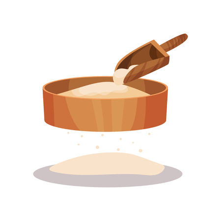Wooden flour sifter and scoop, baking Ingredient vector Illustration isolated on a white background.