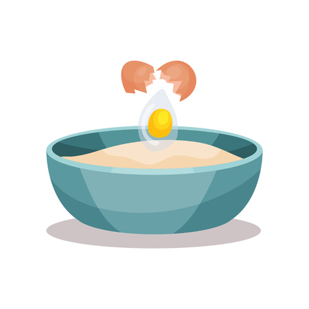 Bowl of flour and broken egg, baking Ingredients vector Illustration on a white background