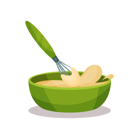 Green ceramic bowl full of freshly prepared dough and whisk vector and whisk Illustration on a white background Vectores