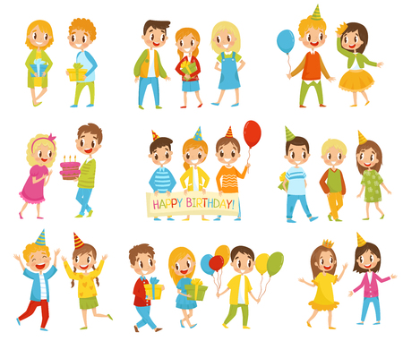 Happy Birthday kids set, little boys and girls celebrating birthday vector Illustrations isolated on a white background.