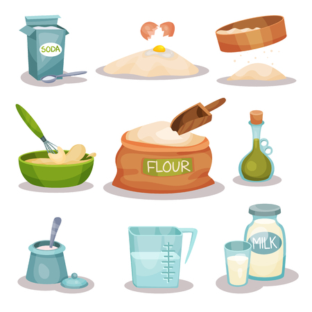 Bakery ingredients set, kitchen utensils and products