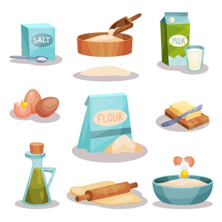 Bakery set, kitchen utensils and food ingredients for baking and cooking vector Illustrations isolated on a white background 写真素材 - 99539670