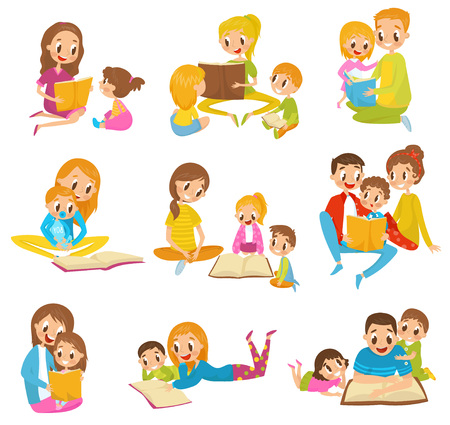 Parents reading books to they kids together set cartoon vector Illustrations on a white background  イラスト・ベクター素材