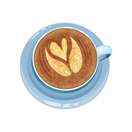 Cappuccino cup with hands and heart design on top, drawings on coffee crema vector Illustration on a white background