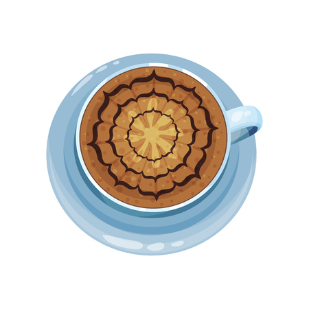 Coffee cup with pattern design on top, drawings on coffee crema vector Illustration on a white background