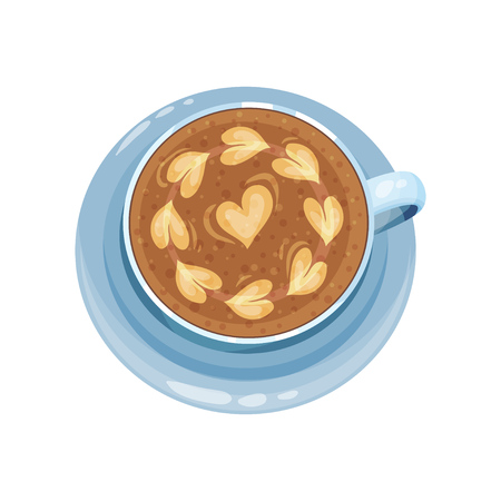 Cappuccino cup with hearts on top, drawings on coffee crema vector Illustration on a white background