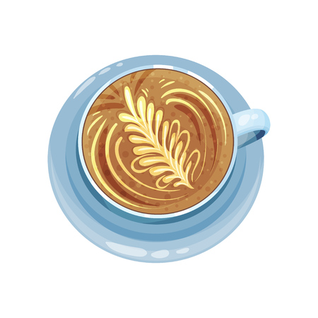 Cappuccino or latte cup with floral ornament design on top, drawings on coffee crema vector Illustration on a white background