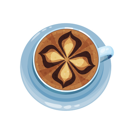 Coffee cup with flower design on top, drawings on coffee crema vector Illustration on a white background Çizim