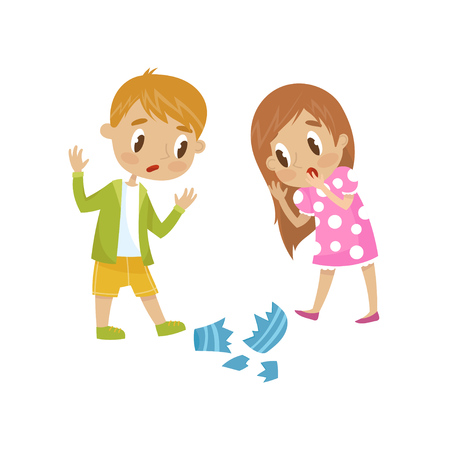 Cute little girl and boy broken a vase, hoodlum cheerful kid, bad child behavior vector Illustration on a white background.