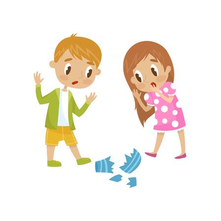 Cute little girl and boy broken a vase, hoodlum cheerful kid, bad child behavior vector Illustration on a white background.