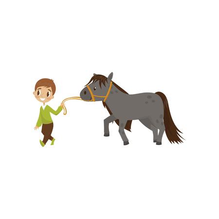 Cute little boy walking horse, equestrian sport concept cartoon vector illustration on a white background. Illustration