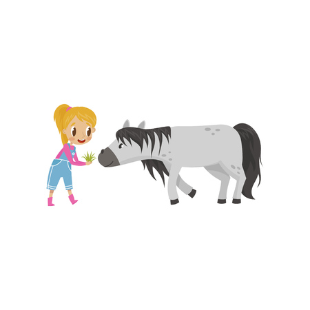 Cute litlle girl feeding horse with green grass, equestrian sport concept cartoon vector Illustration on a white background Stock Illustratie