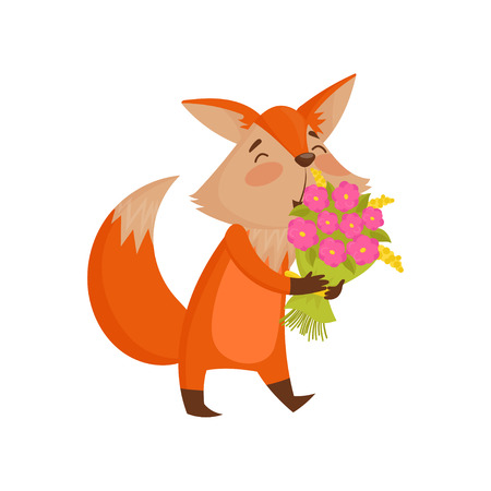 Cute cartoon red fox character holding bouquet of flowers vector Illustration isolated on a white background. Illustration