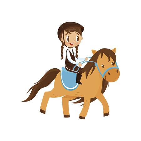 Leuk litlle meisje berijden van een paard, paardensport concept cartoon vector illustratie geïsoleerd op een witte achtergrond.
