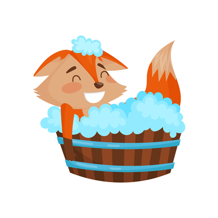 Cute cartoon red fox character taking a bath vector Illustration on a white background