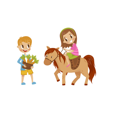 Cute litlle girl riding a horse, boy standing next to the horse with basket of carrots, equestrian sport concept cartoon vector Illustration isolated on a white background.