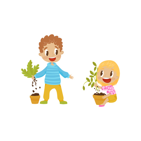 Cute bully boy and girl tearng out house plants from a pot, hoodlum cheerful kids, bad child behavior vector Illustration on a white background Illustration