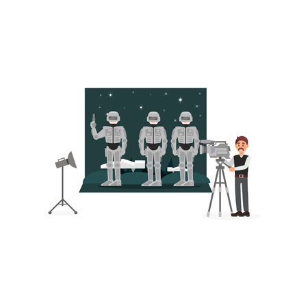Movie operator shooting scene with astronauts in space, entertainment industry, movie making vector Illustration