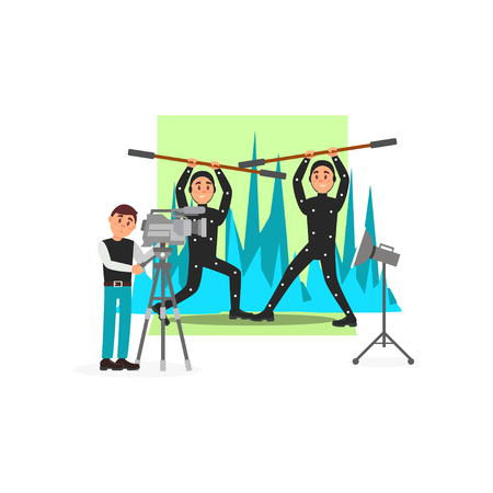 Movie operator and actors, entertainment industry, movie making vector Illustration