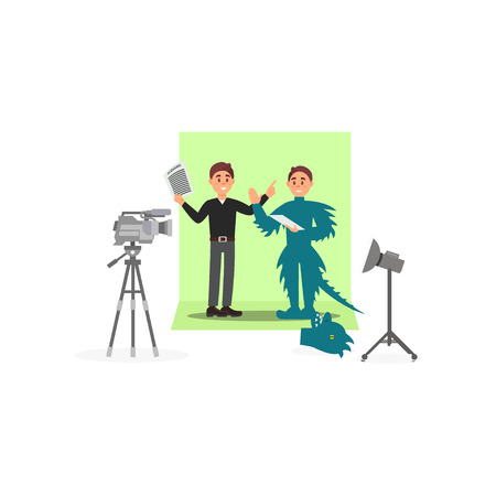 Screenwriter and actor in a dinosaur costume working on the film, entertainment industry, movie making vector Illustration isolated on a white background.