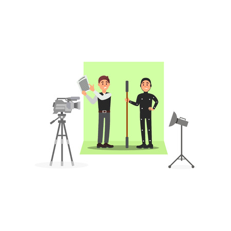 Screenwriter and actor working on the film, entertainment industry, movie making vector Illustration isolated on a white background.