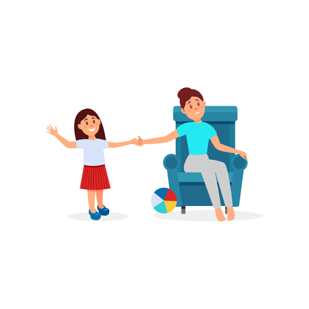 Woman being tired with her daughter, parenting stress vector Illustration on a white background Ilustração
