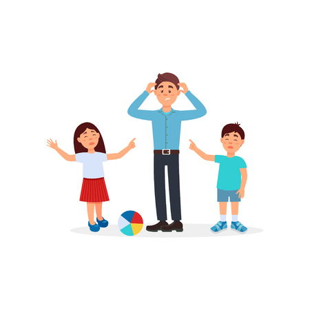 Father being tired with his kids, parenting stress vector Illustration on a white background